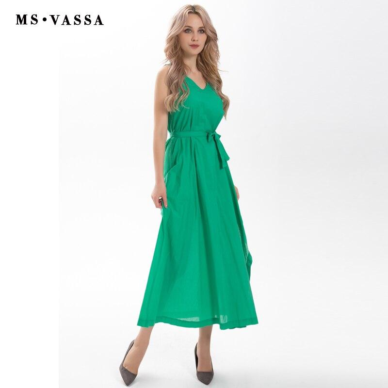 MS VASSA Clearance Sale Summer Dress Women Maxi Dress with belt V neck Sleeveless plus size 5XL 6XL ladies loose dress