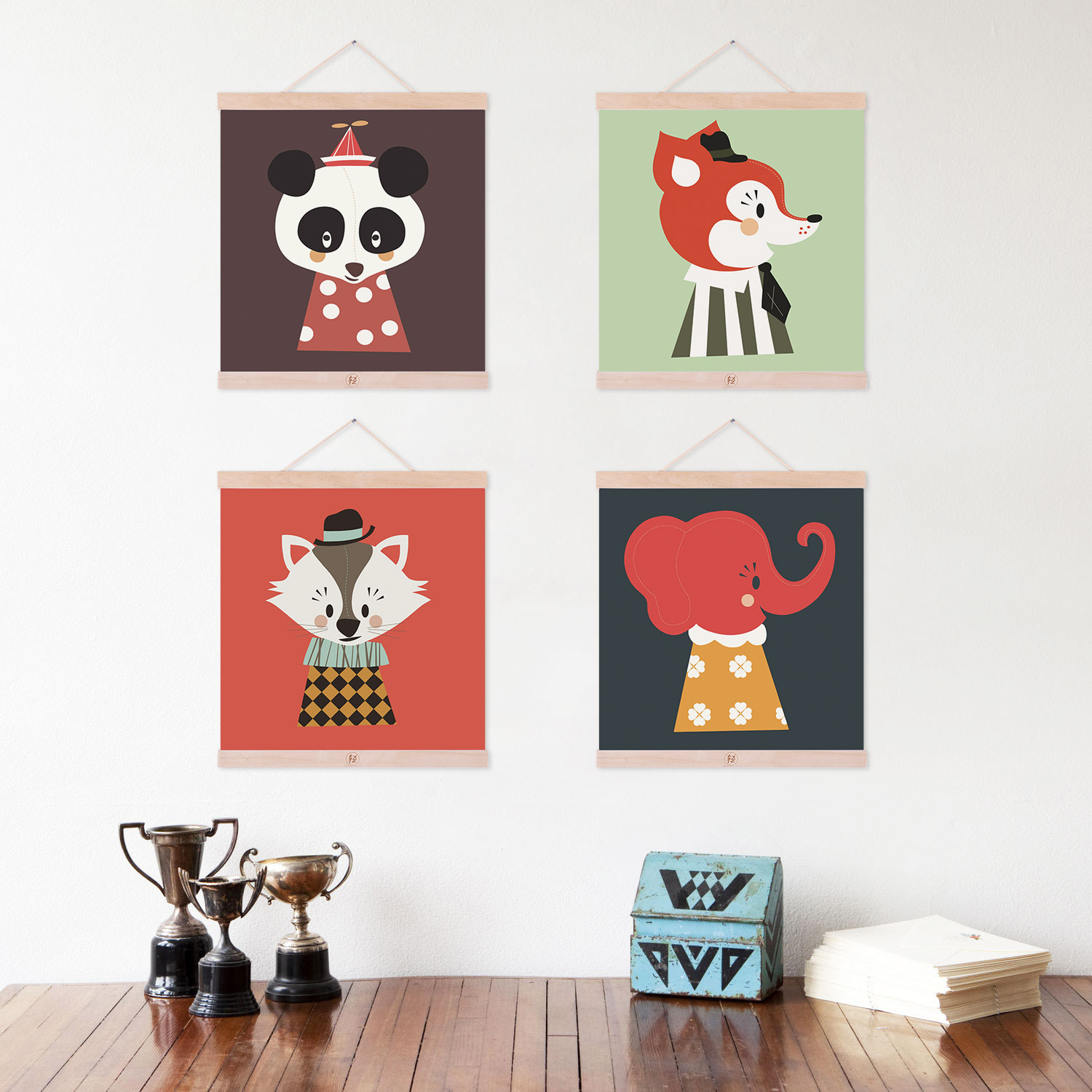 Color Kawaii Animals Fox Panda Wooden Framed Canvas Painting Nordic Style Kids Baby Room Wall Art Pictures Decor Posters Scroll In Calligraphy