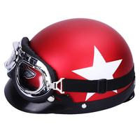 LumiParty Unisex Motorcycle Safety Helmet with Goggles Detachable Visor White Star Pattern Helmet with Goggles Visor r30