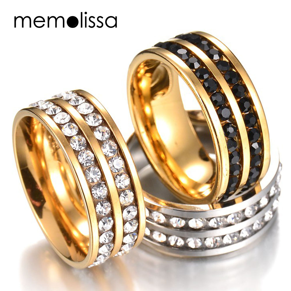 MeMolissa Hot Stone Jewelry Stainless Steel Double Rows Crystal Finger Mid Rings Titanium Rose Gold Rhinestone Wedding Rings