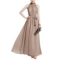 M L XL Women Dress Beige Solid Color Sleeveless Long Dress Beach Style Dress For Spring