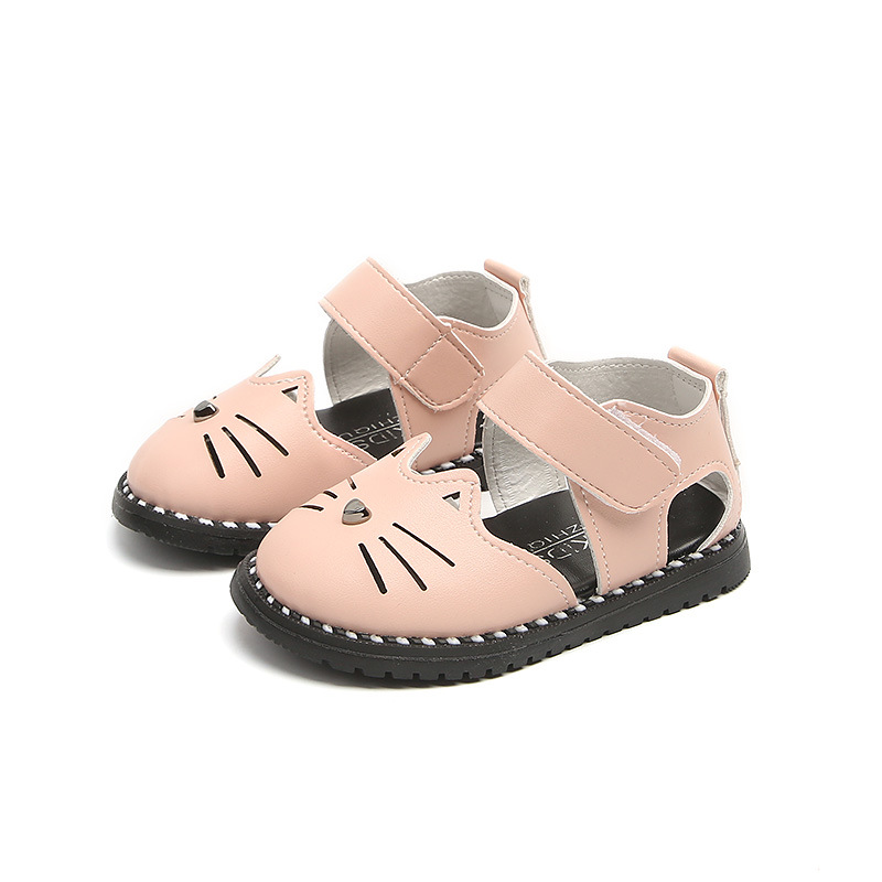 Kids Shoes For Girl Toddler Baby Shoes 2018 Summer Lovely Cartoon Cat Soft  Closed Toe Pu Leather Children Sandals Girls Shoes-in Sandals from Mother    Kids ... cf3b1edb7c5f