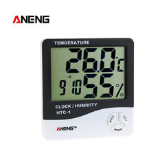 ANENG HTC-1 Indoor Room LCD Electronic Temperature Humidity Meter Digital Thermometer Hygrometer Weather Station Alarm Clock htc 2 3 1 lcd plastic electronic household thermometer hygrometer clock silver black