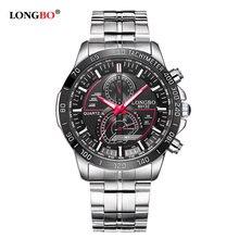 0f9fd9c5d99 LONGBO Homens Banda de Aço Inoxidável Militar Esportes Relógios de Quartzo  Relógio de Marcação Para Os