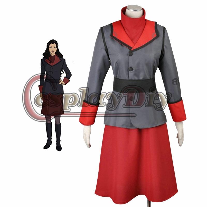 Cosplaydiy Avatar The Legend of Korra Season 2 Asami Sato Cosplay Costume Adult Women Halloween Cosplay Dress Custom Made