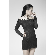 PUNK RAVE Women Punk Rock Black Sexy Dress Gothic Lolita Lace Mini Fashion Slim Fit Club Party Long Sleeve Dresses
