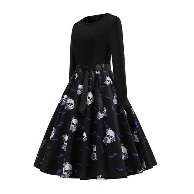 2019 Fall Gothic Halloween Vintage Office Lady Women Dresses Pullover Skull Zipper Print Female Fashion Elegant Black Dress 1