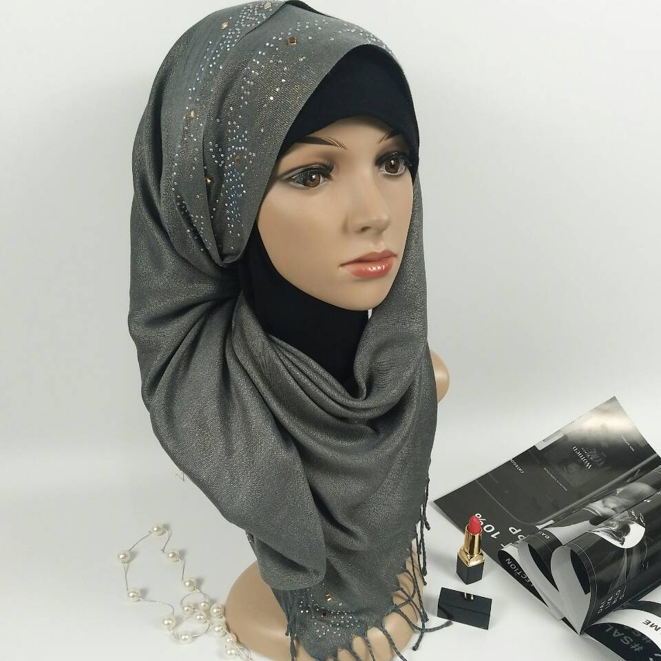 N9 High quality diamond shiny hijab muslim glitter shawls women   scarves     scarf     wrap   headband long