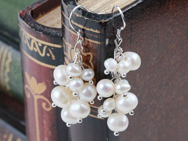 Boucles d'oreilles longues perles naturelles neige blanc perle d'eau douce grappe boucle d'oreille ronde 5mm 7mm