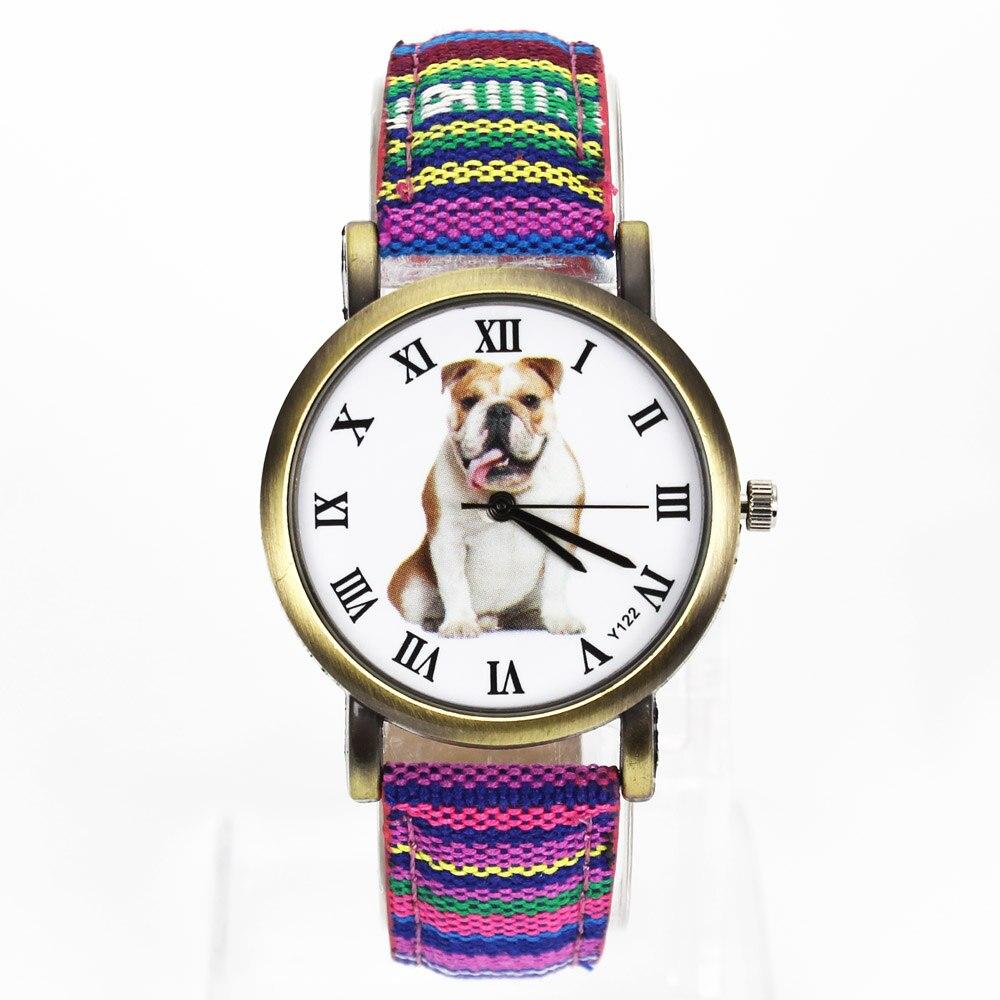 Pleasure Pet Large Bulldog Animal Dog 7 Kinds Colorful Denim Canvas Belt Fashion Sports Gift Quartz Wrist Watch belt