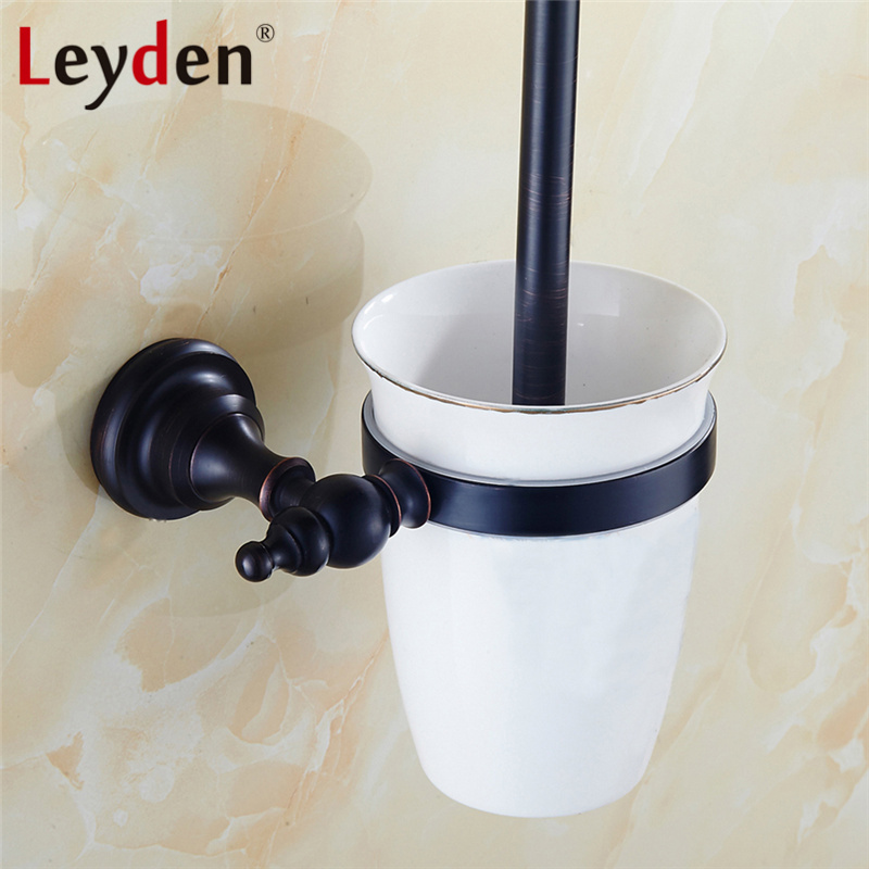 Leyden Solid Brass Toilet Brush Holder with Ceramic Cup Matte Black Classical Wall Mounted Bathroom Accessories