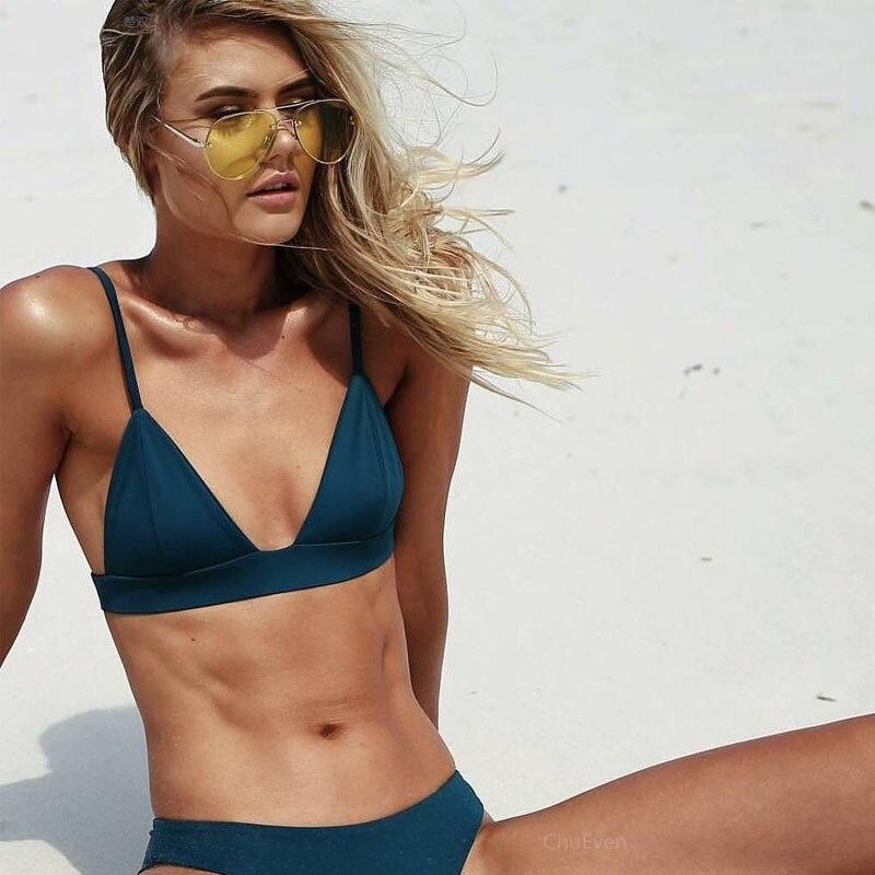 1fbd66d679 Two Piece Bikini Set Padded Push Up Swimwear swimsuit Women Brazilian Thong