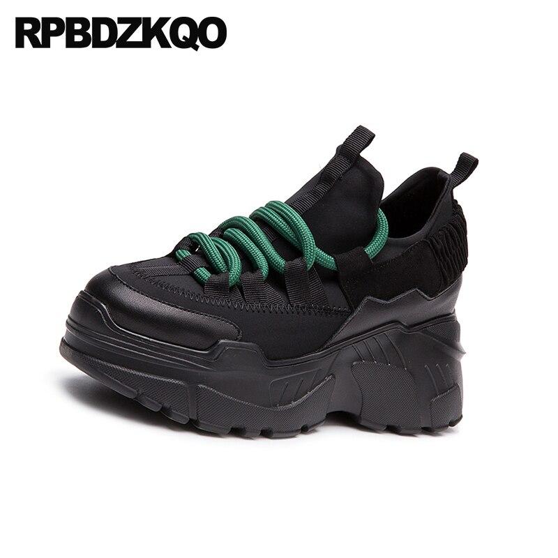 Sneakers Chaussures noir Dentelle Dames Harajuku Jusqu'à Formateurs Fit Wedge Respirant La Ascenseur Muffin Large Beige forme Semelle Creepers Épaisse Femmes Plate 7axdqxFR