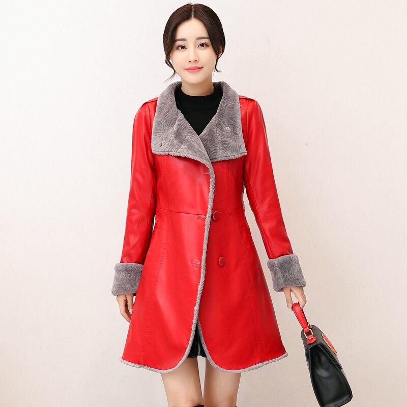 Haute De Chaud Femmes Tranchée Cuir rouge Manteau D'hiver Velet Noir Couro pourpre Épaissir Qualité Femme orange Veste En Casaco qHxvtnOB