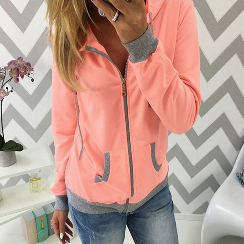 Women's Spring Winter Hoodies Long Sleeve Patchwork Colors Sweatshirts Casual Pockets Zipper Hooded Ladies Outerwear Clothing