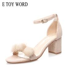 E TOY WORD Sandals women 2019 New Summer Square heel High Heels Sandals Open Toe Wild Fashion Hair ball sandals Buckle Strap