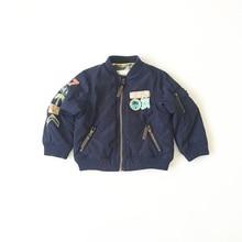Ins горячей продажи 2016 ребенок ребенок темно-синий мотоцикл марки супер красивый хлопка-ватник вниз пальто детские мальчик одежда девушки