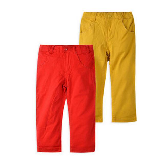 Bebê Meninos Calças Jeans Crianças calças Crianças Primavera Outono Crianças Vermelho Amarelo Calças Nova Marca de Moda Jeans de Alta Qualidade Crianças Roupas
