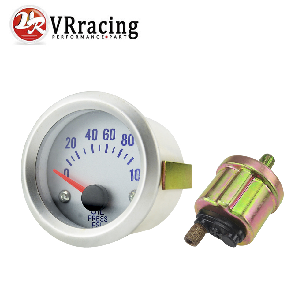 VR RACING - Silver Car Motor Universal Pointer 2 52mm Oil Press Pressure Gauge Dials PSI VR-TAG04-OP