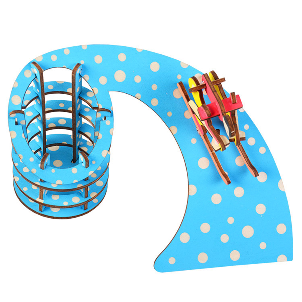 Creative 3d Puzzle Wooden Toys Ski Shape Pen Holder Children Educational Toys Diy Handmade Toy