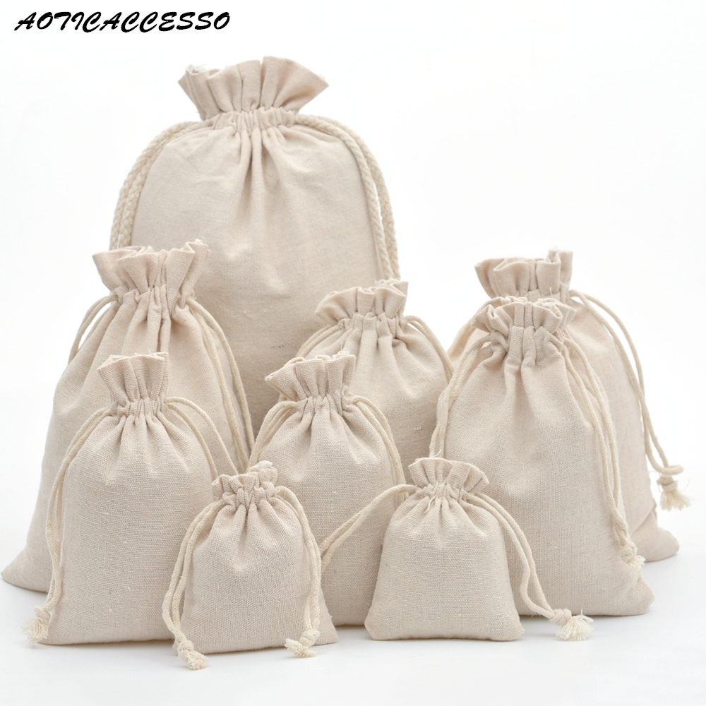50pcs Handmade Drawstring Bag Travel Drawstring Pouch Pure Cotton Linen Mini Cloth Bag Storage Bag For Christmas Gift Package