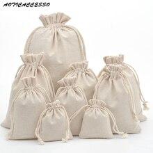 50pcs Handmade Drawstring Bag Travel Drawstring Pouch Pure C