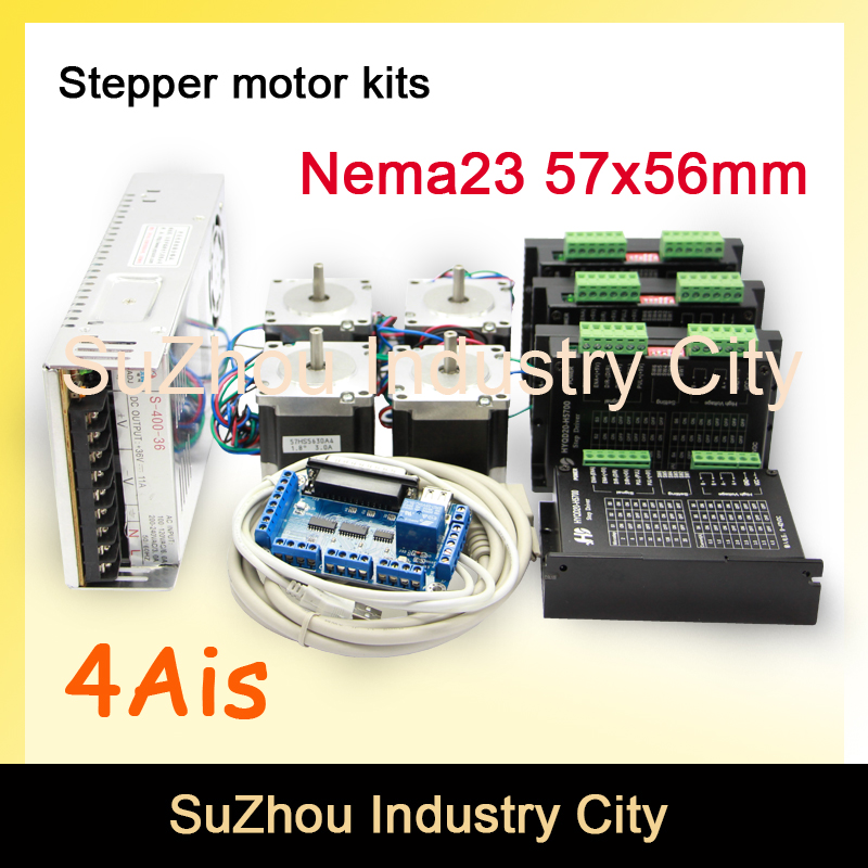4Axis CNC stepper motor control kits name23 stepping motor + Driver 9-42VDC,4A+Power supply switch 400w 36v+5axis breakout board nema17 nema23 cnc stepping motor driver tb6600 stepper motor driver 16 micsteps 42vdc 4 5a motion motor speed control