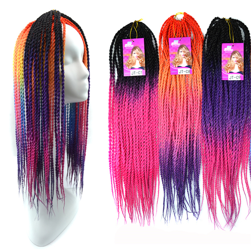 Senegalese Twist Hair 20 inches Soft Dreadlock Synthetic Curly Hair Ombre Cornrows Braiding Hair Crochet Braids Kanekalon ...