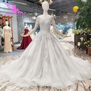 Image 3 - AIJINGYU 간단한 웨딩 드레스 소매 레이스 가운 가운 맞춤 공 러시아어 가운 아랍어 웨딩 드레스