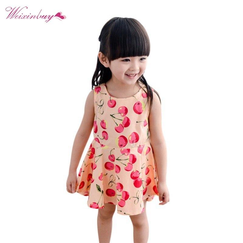 Smart Children Kids Girl Dress Kids Teens Sleeves Fruit Printing Pattern Cotton Dress Clothes Vestidos Lovely Luster Girls' Clothing Dresses