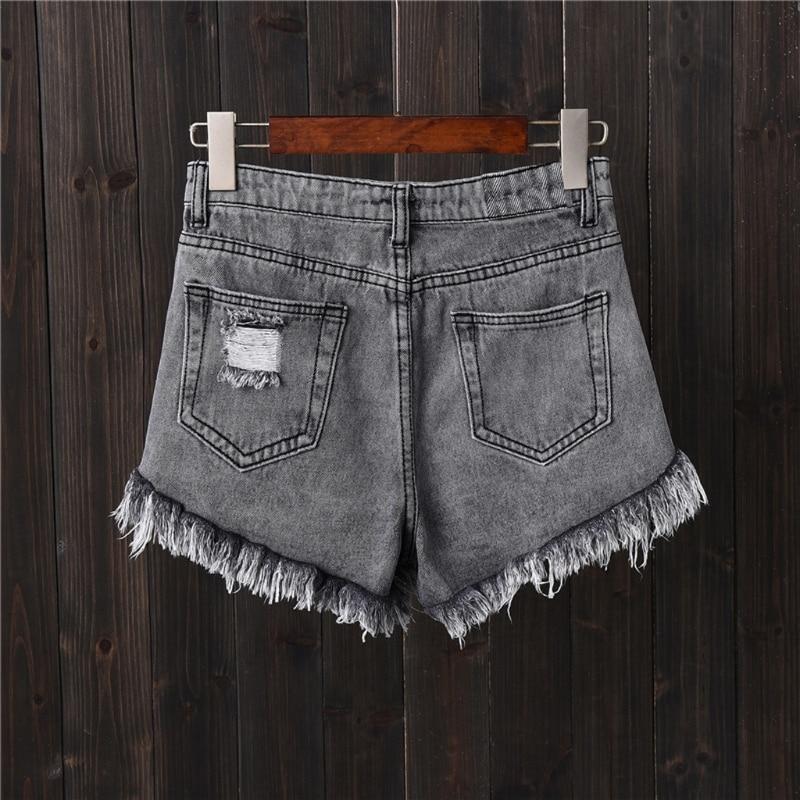 Womens Sexy High Waist Tassel Ripped Jeans Summer Large Size Denim Shorts 7