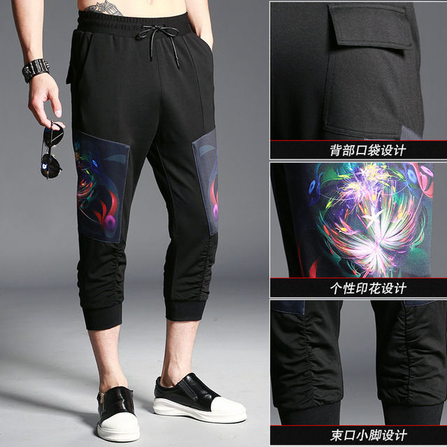 40 Summer cotton pants men fashion calf length pants drawstring Delectable Mens Patterned Pants