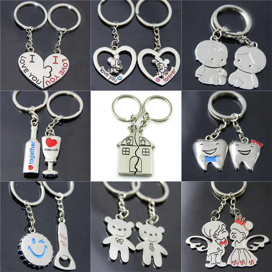 20 Styles Metal Love Heart Metal Keychain For Women Charm Couple Key Chains Fine Gifts For Accessories Punk Wild