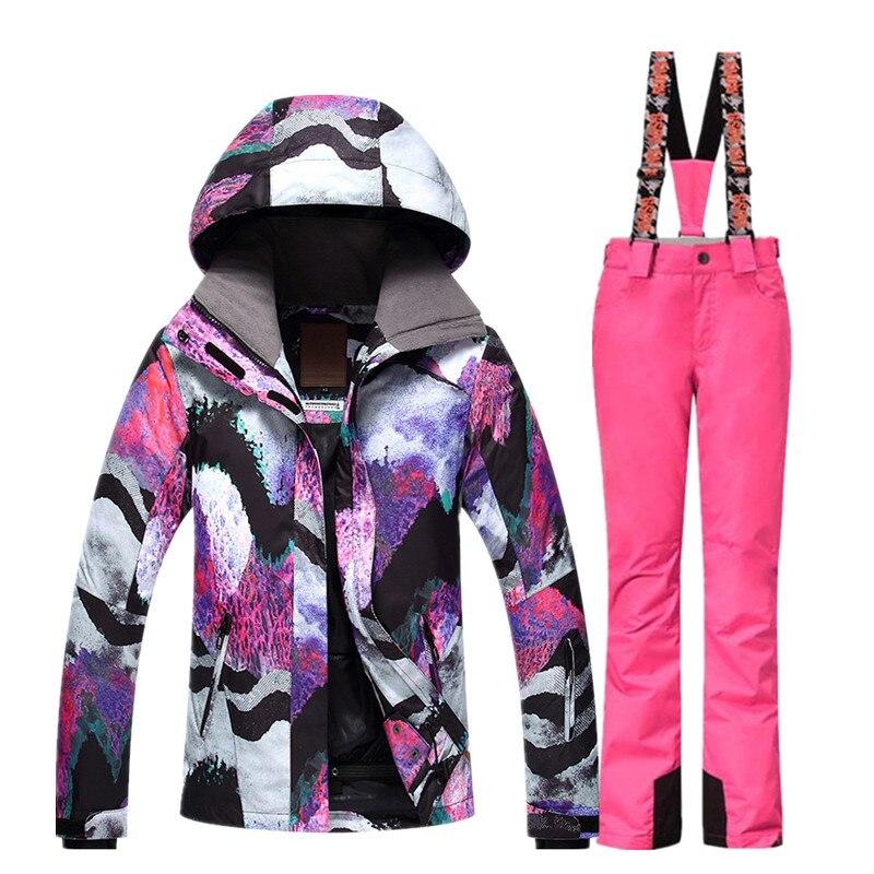 GSOU combinaison de Ski de neige femme veste de Ski pantalon hiver extérieur pas cher combinaison de Ski imperméable veste de Snowboard pantalon vêtements coupe-vent - 3
