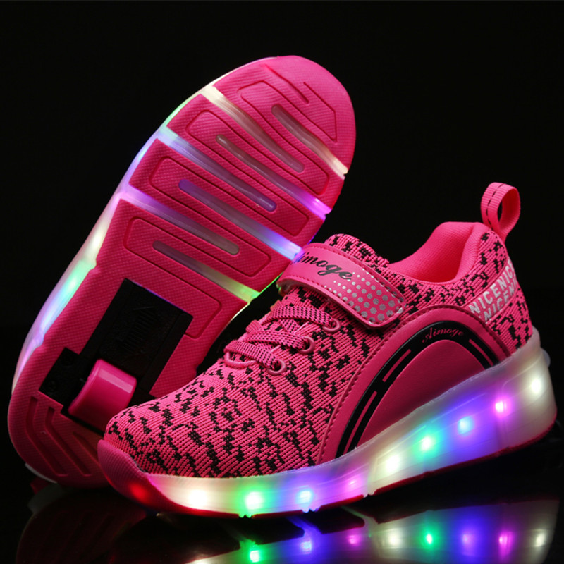 9fdc8fc3890702 New Kids Shoes Boys Girls LED Light Roller Skates Child black Glowing  Sneakers With Wheels tenis de rodinha-in Athletic Shoes from Mother & Kids