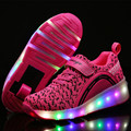 New Kids Shoes Boys Girls LED Light Roller Skates Child black Glowing Sneakers With Wheels tenis de rodinha