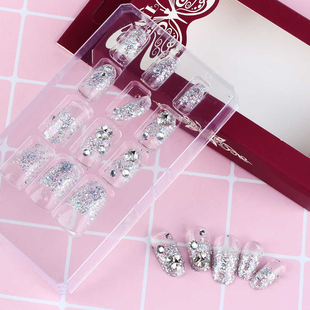 1SET Reusable Finished False Nails With Back Sticker Tape Crystal Diamond Lace Flower Nail Art Decoration Bride Fake Nail Tips