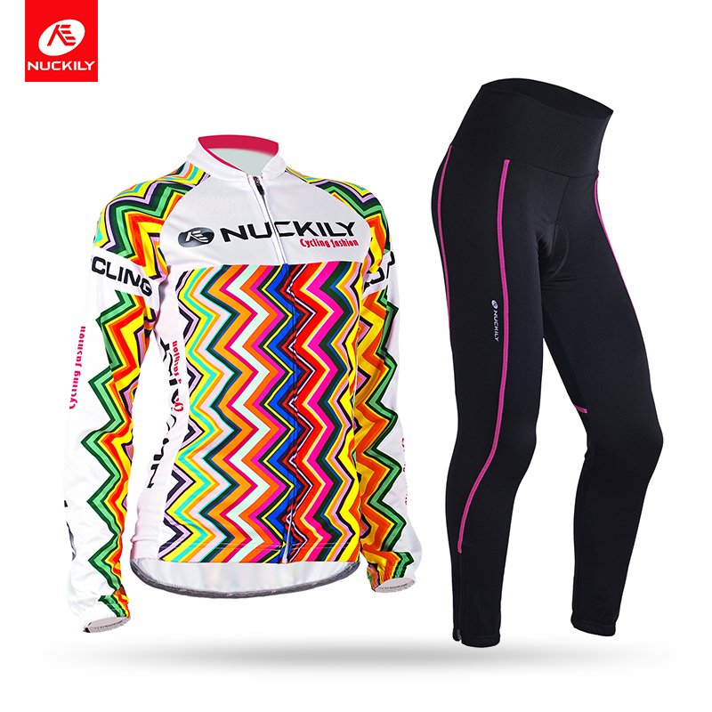 Nuckily Spring/Autumn Women's cycling clothing long sleeve bike jersey with long cycling tight set   GH004GM001 fashionable autumn spring sportwear long sleeve cycling set for unisex