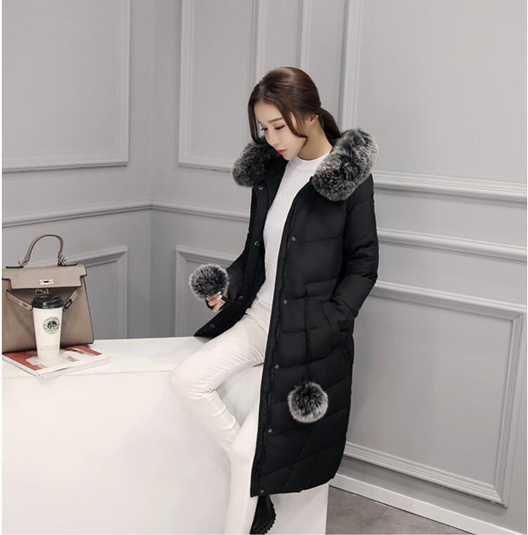2017 new High quality women long Down jacket 90% White duck down warm coat with Real fur