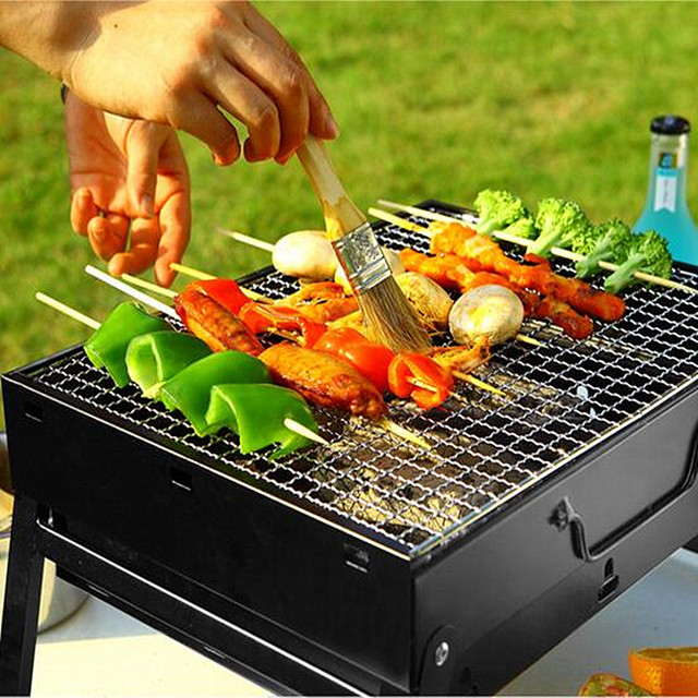 35cm 43cm Outdoor Home Folding Portable Kebab Grill Barbecue Pits Stainless Steel Charcoal Bbq