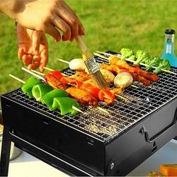 Parrilla plegable portátil para Kebab, para exteriores, de acero inoxidable, 35cm/43cm, para barbacoa y carbón