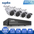 SANNCE 800TVL HD 8CH 960 H HDMI DVR KIT Sistema de Segurança CCTV 4 PCS IR Câmeras de Segurança De Vídeo Ao Ar Livre 800TVL kit de vigilância