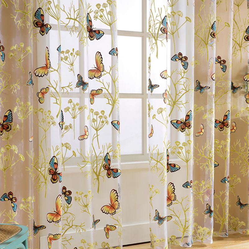 Ordinaire New Floral Print Semi Sheer Curtains Printed Butterfly For Living Room  Bedroom Kitchen Curtain Printed Sheer Voile Curtains In Curtains From Home  U0026 Garden ...