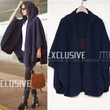100% Wool 2017 Autumn Wool Coat Women Embroidery Letters Casual Clothes Fashion Knitted Cardigan Dark Blue Cloak Cape(China)