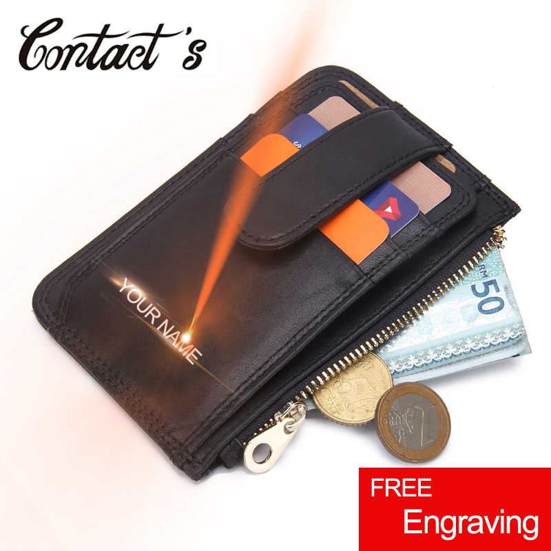Casual Credit Card Holder Case Genuine Leather Small Men Wallet Brand Designer Thin Black Card Package Fashion Zipper Coin Purse