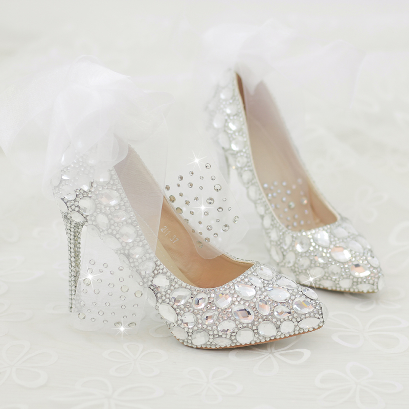 Love Moments crystal rhinestone women wedding shoes Silver bridal shoes big size 41 43 high heel