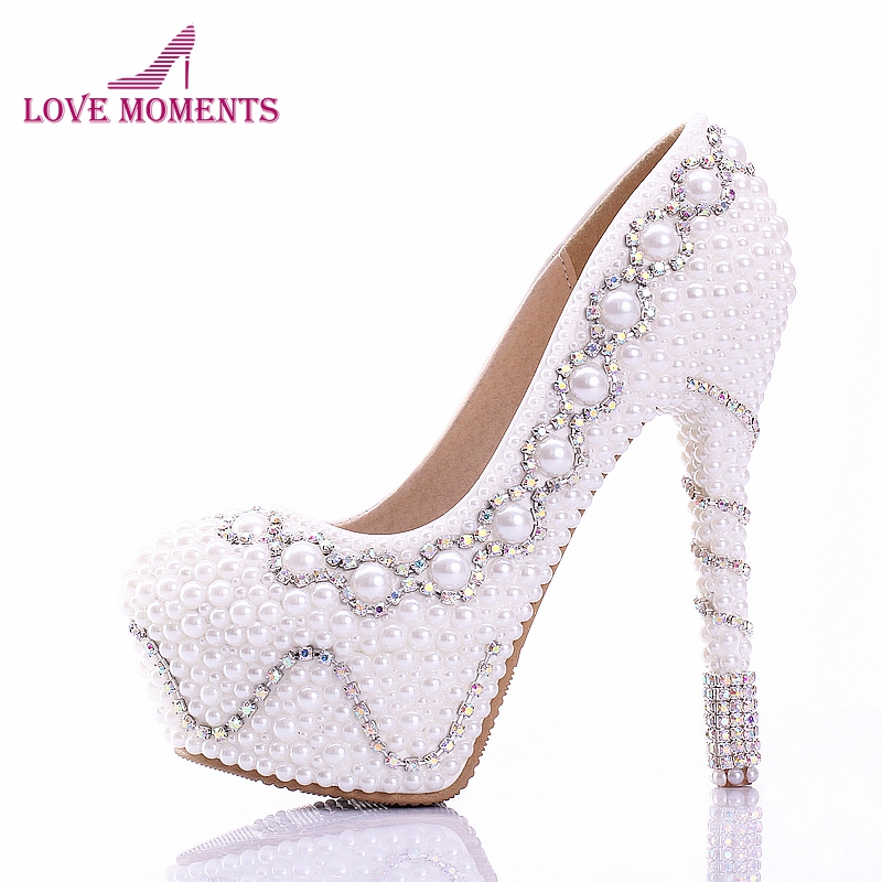 White Pearl Wedding shoes Cocktail Dress Pumps Plus Size 11 Pure White Custom Made Bride Dress Shoes Rhinestone High Heels pure white pearl wedding dress shoes gorgeous red rhinestone heart shape women pumps 3 inches high heel bride shoes event pumps