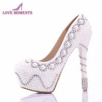 White Pearl Wedding shoes Cocktail Dress Pumps Plus Size 11 Pure White Custom Made Bride Dress Shoes Rhinestone High Heels
