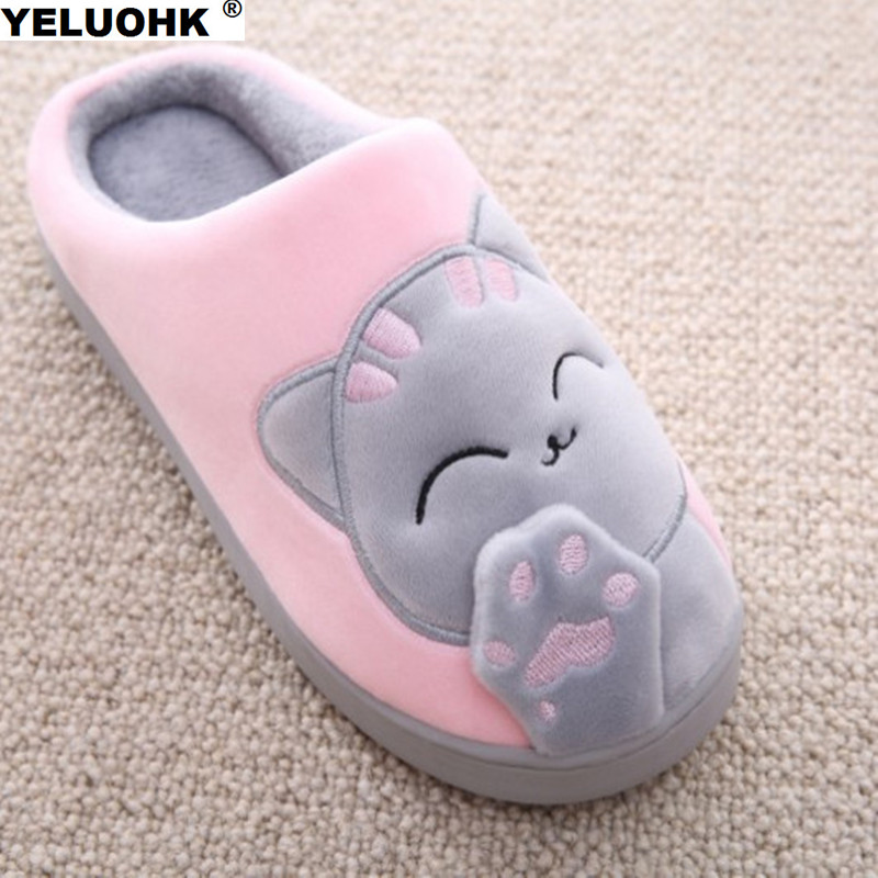 Warm Cat Winter Shoes Women Home Slippers Comfort Home Shoes For Women Plus Indoor Shoes Fur Slippers