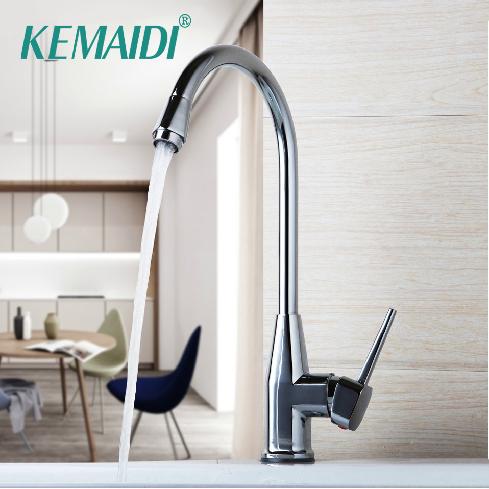 KEMAIDI New Waterfall Mixer Stainless Steel Faucet cozinha torneira Kitchen Mixer Tap Chrome Polished 360 Swivel Kitchen Faucet